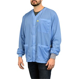 770102-SMOCK, DUAL-WIRE, JACKET, BLUE, M ,KNITTED CUFFS, 3 POCKETS, NO COLLAR