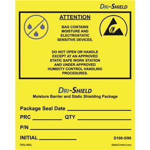 DRI LABEL, ESD AWARENESS, EIA 583 SYMBOL, 4IN x4IN, 100/ROLL